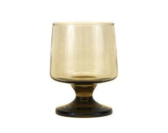 Vintage Short Footed Smoke Colored Drinking Goblet (E2549)