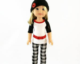14 inch doll clothes,  shirt, leggings, belt and handmade hat, designed to fit like wellie wishers™ doll clothes