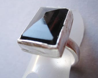 Black Onyx Ring ./. Handforged Silver Ring ./. Powerful Ring ./. Bague Pierre Noir ./. Unique Swedish Ring ./. Statement Ring ./. Stonering