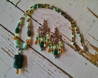 Yellow turquoise necklace chandelier earring set, Gypsy yellow turquoise jewelry set with gold, teal and green