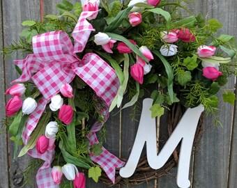 Spring Wreath, Door Wreaths Spring, Tulip Wreath, Monogram Wreath, Wreath with Pink Tulips, Wreath, Easter Wreath, Gingham