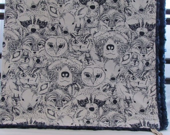 Minky baby blanket-Forest Menagerie fabric- Bears-Fawns-Racoons-Owls- Fox-Minky blanket- Forest animals minky blanket-Toddler Minky blanket