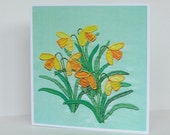 Daffodils Greetings Card, Recycled Card, Spring Card, Easter Card