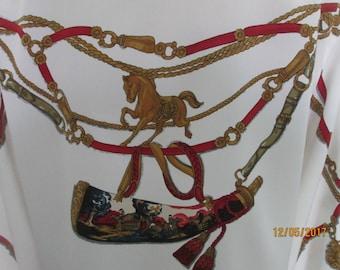 Buttoned  Blouse / Blouse Vintage / Equestrian / Horses Pattern / Blouse size EUR EUR 40 /42 / UK12 / 14 / Side Slits / Poly / White
