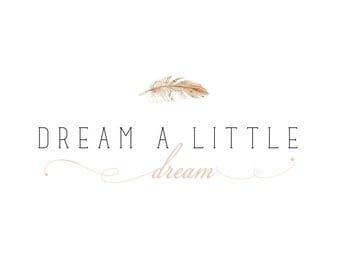 Feather Logo  - customizable Pre-made, modern pastel, peach and pink logo design