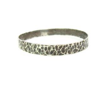 Hammered Bracelet. Artisan Made Bangle. Stacking. Arts & Crafts Sterling Silver. Medium Width. Signed UWE. Vintage Textured 1950s Jewelry