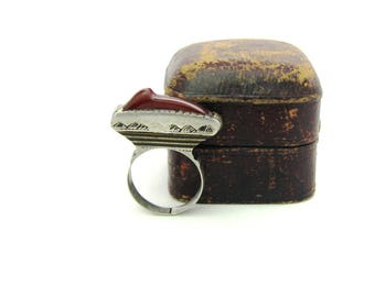 Carnelian Ring. Tuareg Nomad Jewelry. Ethnic African Berber Silver, Rust Brown Sard & Dark Wood. Vintage Handmade Statement Ring.