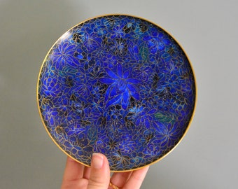 Vintage Ring Dish - Small Floral Enameled Metal Blue Trinket Tray