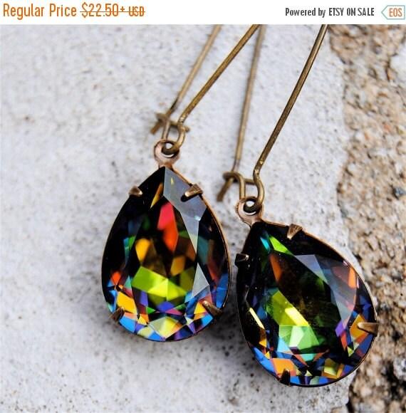 SALE 20% OFF Rainbow Crystal Drop Earrings Rainbow Bridesmaid Rainbow Wedding Swarovski Crystal Large Pear Kidney Wire Tear Drop Stud Post C