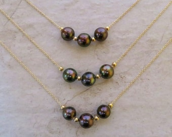 Triple Tahitian Pearl Necklace, Gold Chain Beads, Floating, Genuine Multi Colored Pearls, Hawaii Beach Jewelry, Elegant Short Necklace