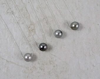 Tahitian Pearl Necklace, Sterling Silver, Genuine Black Pearls, Floating, Elegant Christmas Gift Idea, Wedding Bridal Jewelry, Handmade Maui