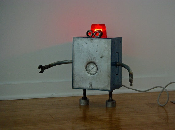 Free Shipping (USA) Robot Lamp Found Object Handmade Modern Bot Sculpture Nightlight night light Metallic industrial steampunk 3D Art
