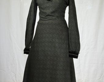 70s Bohemian gothic black and grey prairie dress with ruffle hem and corduroy collar size M