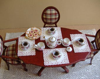 Miniature Tea Set 1:12 Scale With A Cookie Plate