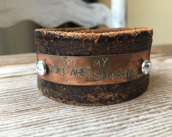 You Are My Sunshine Leather Cuff
