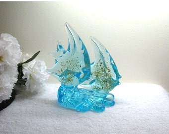 "Turquoise Art Glass Double Angel Fish Sculpture / Vintage Hand Blown Murano Style With Gold Flecks / 6.5"" Tall"