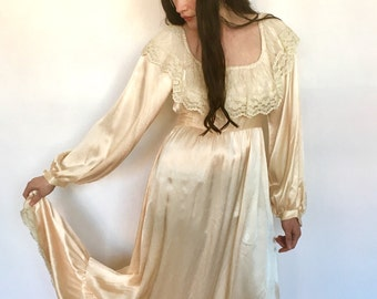 70s Gunne Sax Maxi Dress Bohemian Wedding Blush Ivory Satin Gown