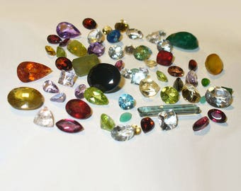 Parcel of Mixed Faceted Genuine Gemstones in Sterling Silver Treasure Box