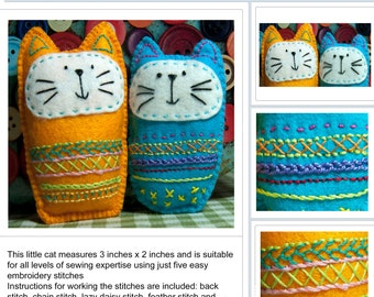 Embroidered Felt Cat Softie Pattern