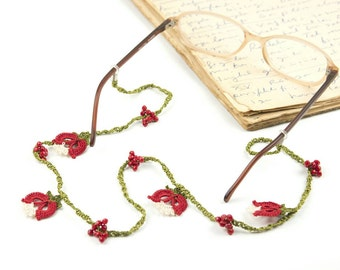 Glasses Strap- Handmade Crochet Eyeglass Accessories, Red Tulip Flower Eyeglass Holder, Crochet Eyeglasses Strap, Bohemian Jewelry
