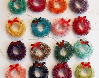 "1.5"" Bottlebrush Wreath Ornaments - Individually Sold in Every Color"