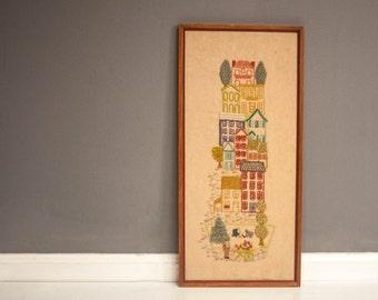 Vintage Framed City Scene Crewel Wall Hanging