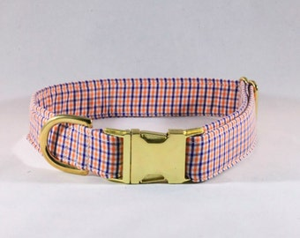 Preppy Navy and Orange Gingham Dog Collar, Check Plaid Auburn Tigers
