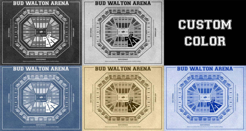 Vintage print of bud walton arena seating chart on premium for 12x15 calculator