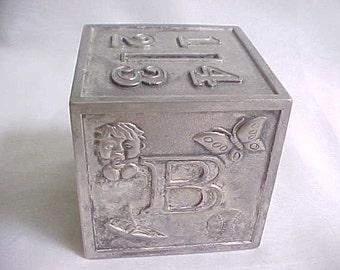Vintage Silverplated ABC Coin Bank, Childrens Metal Alphabet Block Bank by Leonard, Mid Century Nursery Decor, Childs First Savings Bank