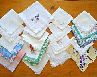 20 Handkerchief Hanky Hankie Vintage Hankys Hankies Slight Flaw Imperfect Lot A