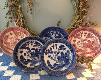 Mismatch lot of blue pink willow willoware fun for wall display or to add to a mismatch collection 5 pcs