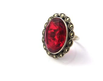 Art Deco Ring, Sterling Silver Ring, Vintage Marcasite Ring, Garnet Glass Ring, Uncas, Red Stones, Glass Statement Ring, Size 4.5