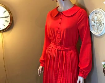 1960s PLEATED mini skirt dress.LIPSTICK Red blousy Pan Collar .cinched waist. Beatles Mania.Twiggy dress.Hippie Protest 60s clothing. Sz.Sm