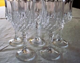 5 Vintage Cris D'Arques/Durand Crystal Wine Glasses Longchamp Pattern