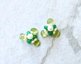 Green stud earrings - Peridot cluster gemstone studs - wire wrapped cluster stud earrings - 14k gold filled