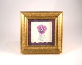 Small Purple Flower with Frame and Saying