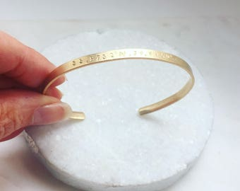 Personalized Gold Cuff Bracelet Wife Birthday Gift for wife Anniversary Gift Luxury Gift for Her Name Jewelry Inspirational gold bracelet