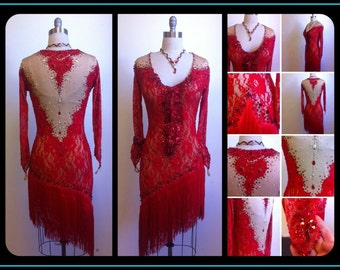 Dress by order!      Red Dance Dresses    Latin Dance Dresses Red  Lace Dance Dresses