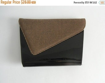 20% OFF Vintage Purse, Vintage Envelope Purse, Vintage Pocket Book, Tweed Purse, Vintage Patent Leather Clutch, Black Patent Leather Purse,
