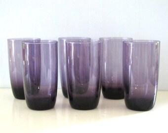 Vintage set of Six Amethyst Glass Tumblers