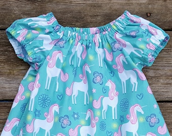 Girl's Toddlers Unicorns on Turquoise Peasant Sundress