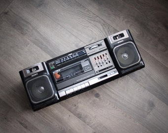 1990s Sony Boombox CFS 1000 Cassette Player Dual Speakers Removable AM FM Radio Works