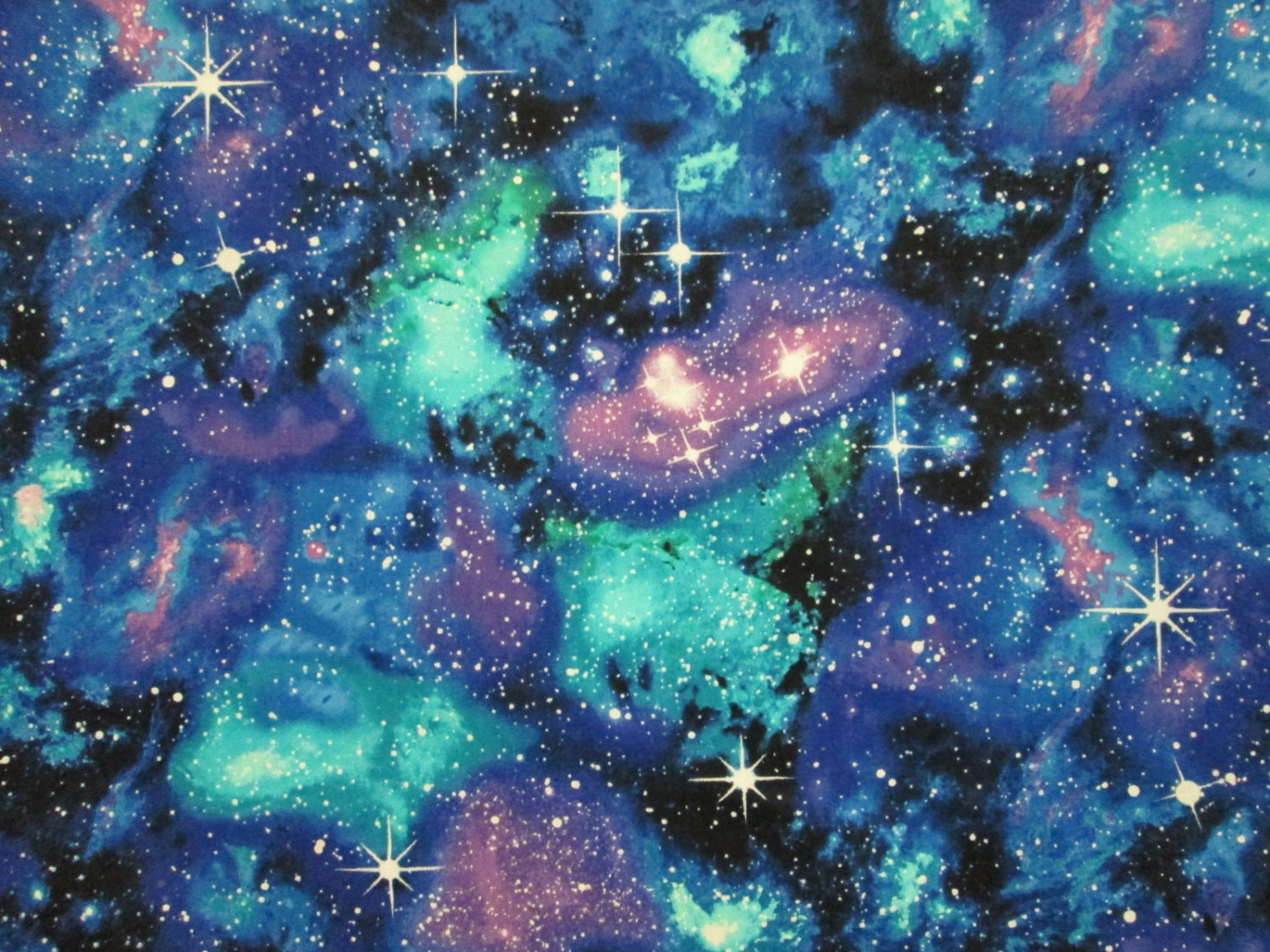 Stars galaxy sky blue green cotton fabric fat quarter or for Galaxy material fabric