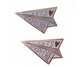 Lets Explore Paper Airplane Enamel Pin