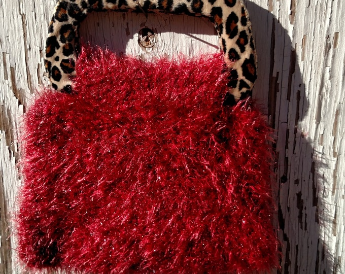 Knit Handbag in Sparkly Red Fur with Leopard Handles