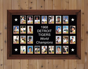 1968 Detroit Tigers World Series Team Baseball Card Poster Detroit Tigers Decor Gift for Fan Unique Wall Art