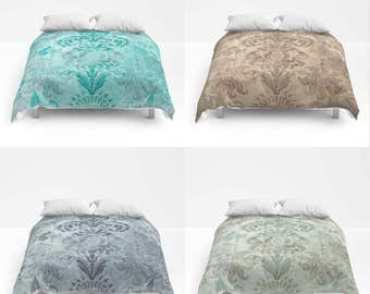 Grunge Damask Comforter, Bed Cover, Bedding, Modern Retro Bedspread, turquoise, slate blue, duck egg, coffee, customizible color, Distressed