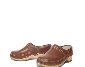 SALE 8   Women's Vintage Clogs made in Holland Leather and Wood Slip On Clogs