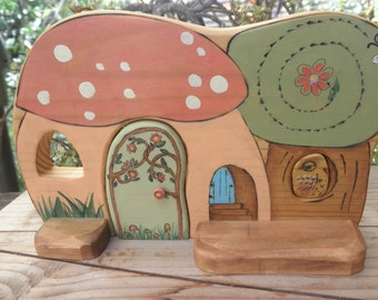Wooden Whimsical Habitat-Playscape-Magic Portal-Tree Owl Puzzled In-Waldorf Inspired