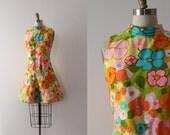 vintage 1960s Elizabeth Arden dress // 60s mod floral designer dress